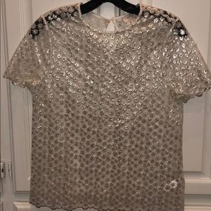 Kate Spade White/Silver Floral Embroidered Blouse